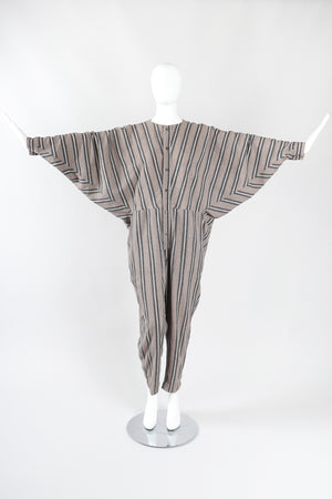 Recess Los Angeles Designer Consignment Vintage Plantation Issey Miyake Striped Cotton Batwing Jumpsuit