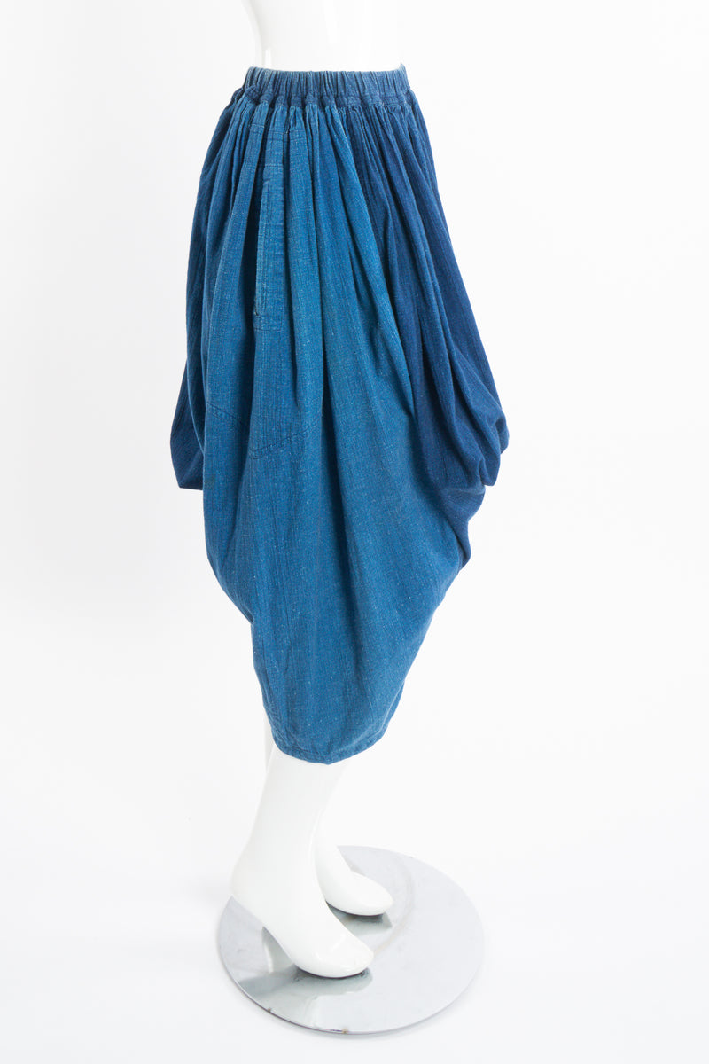 Vintage Issey Miyake Plantation Chambray Denim Harem Crop Pant on Mannequin side at Recess LA