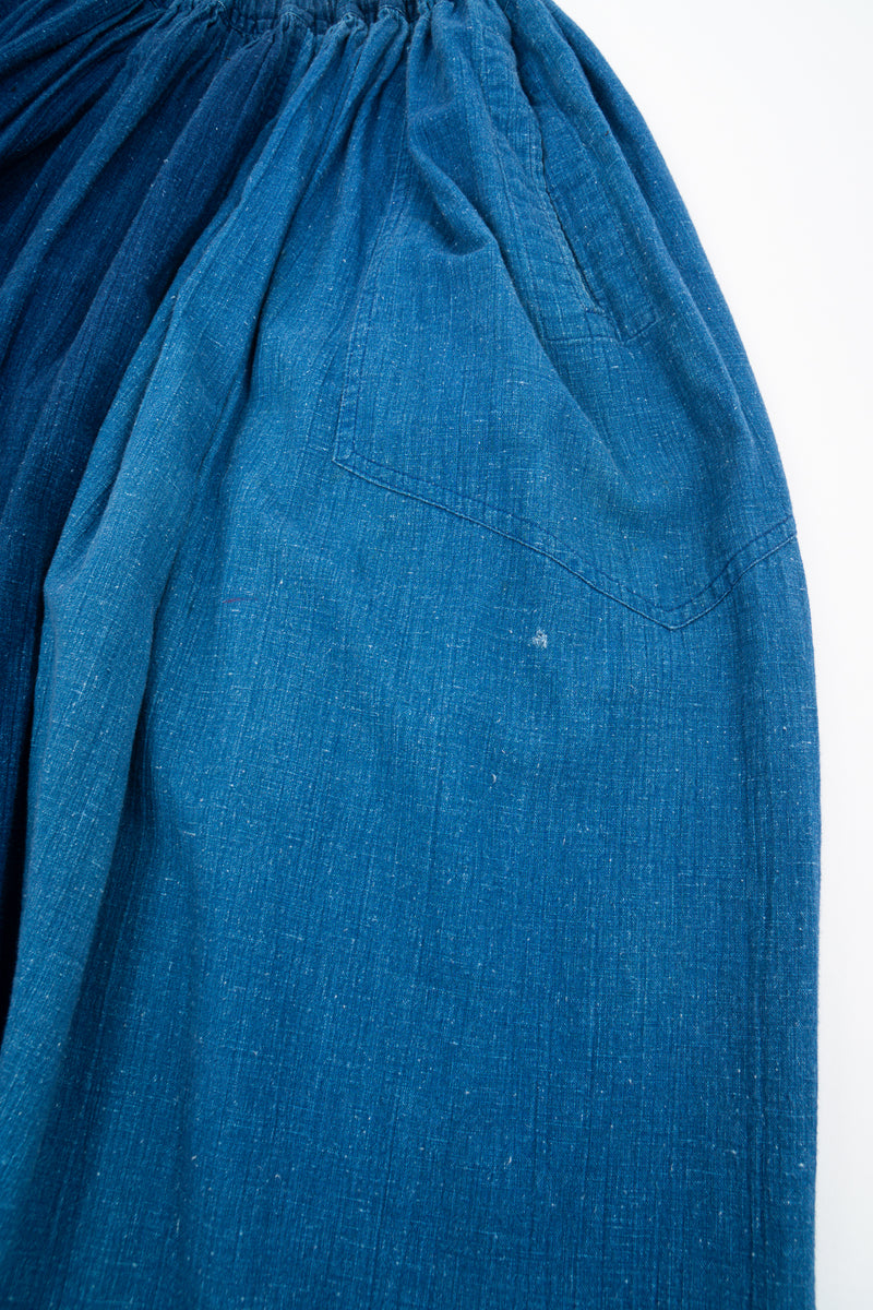 Vintage Issey Miyake Plantation Chambray Denim Harem Crop Pant hole at L hip at Recess LA