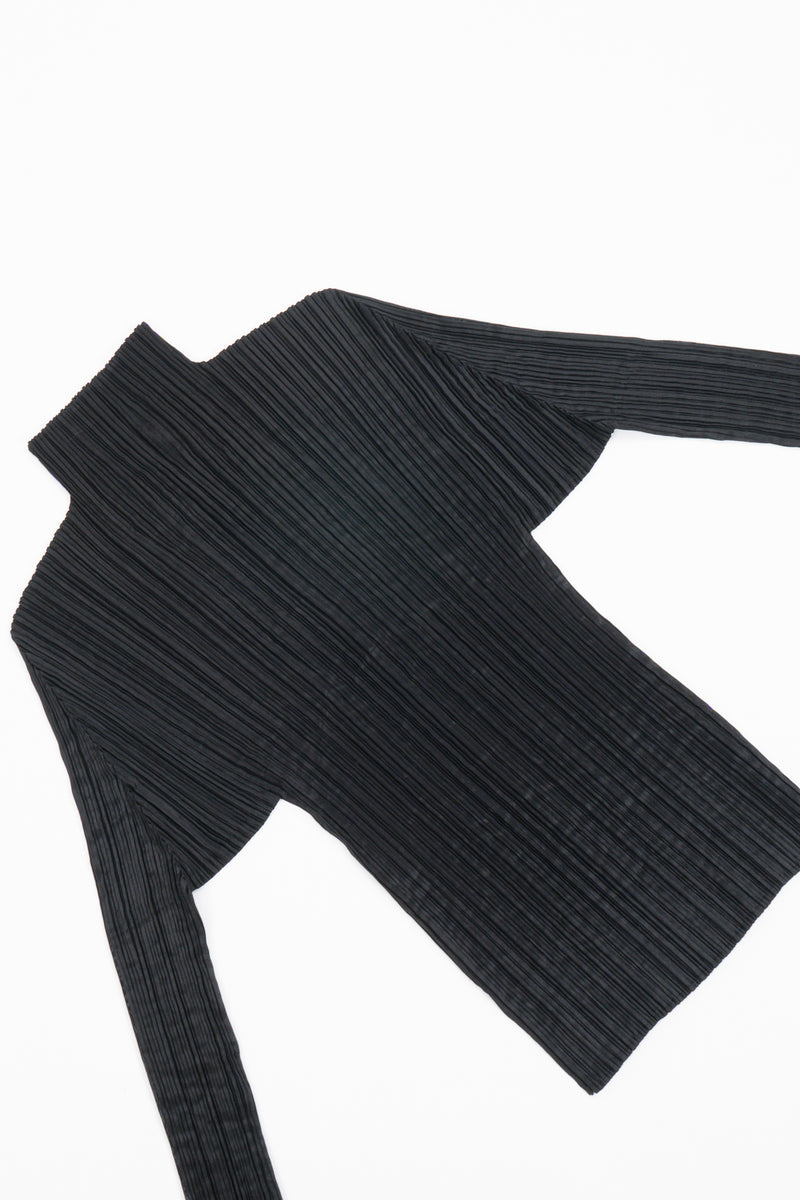 Vintage Issey Miyake Pleats Please Sheer Pleated Mockneck Top flat at Recess LA