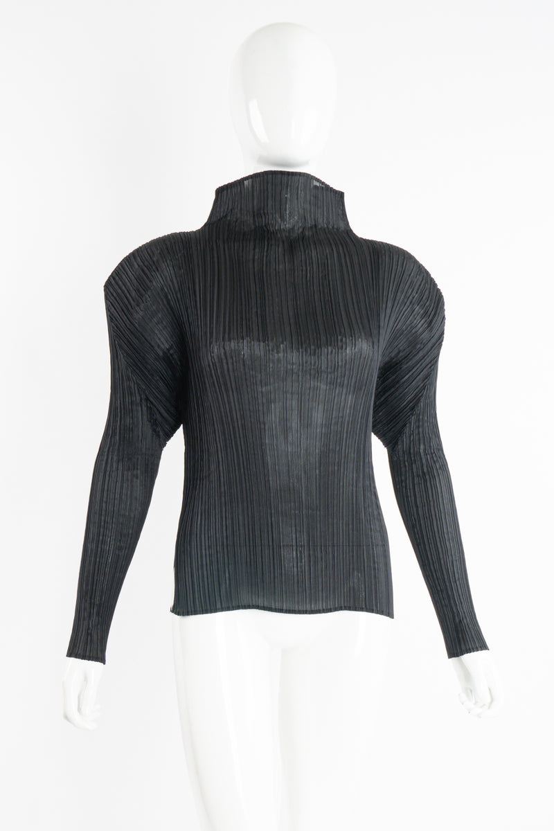 Vintage Issey Miyake Pleats Please Sheer Pleated Mockneck Top on Mannequin front at Recess LA