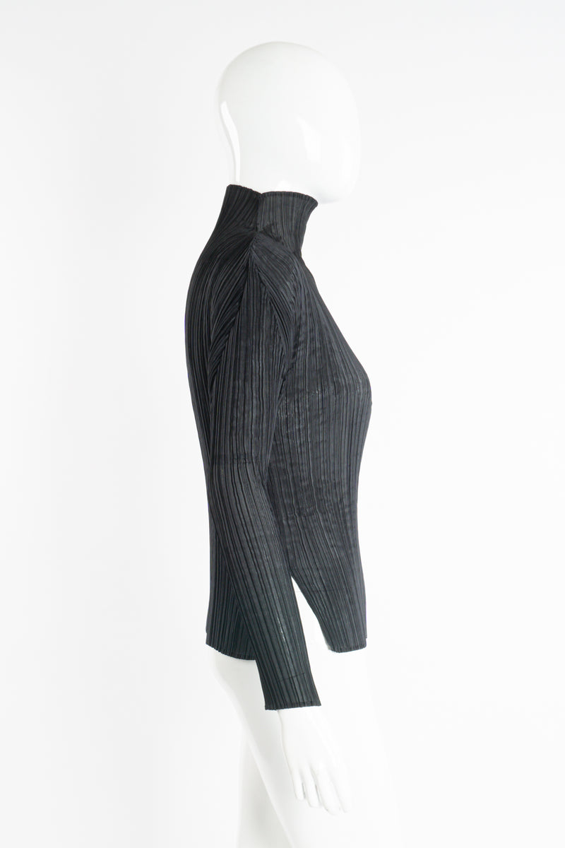 Vintage Issey Miyake Pleats Please Sheer Pleated Mockneck Top on Mannequin side at Recess LA