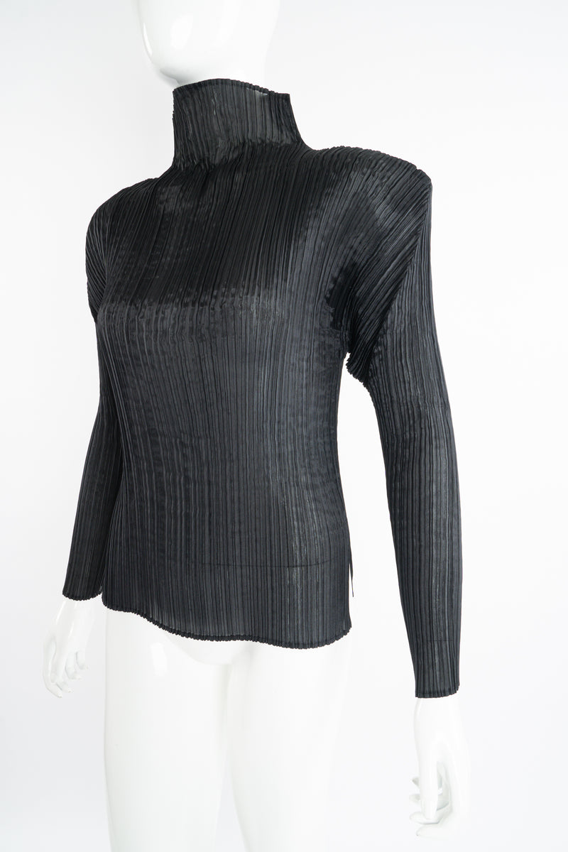Vintage Issey Miyake Pleats Please Sheer Pleated Mockneck Top on Mannequin angle at Recess LA