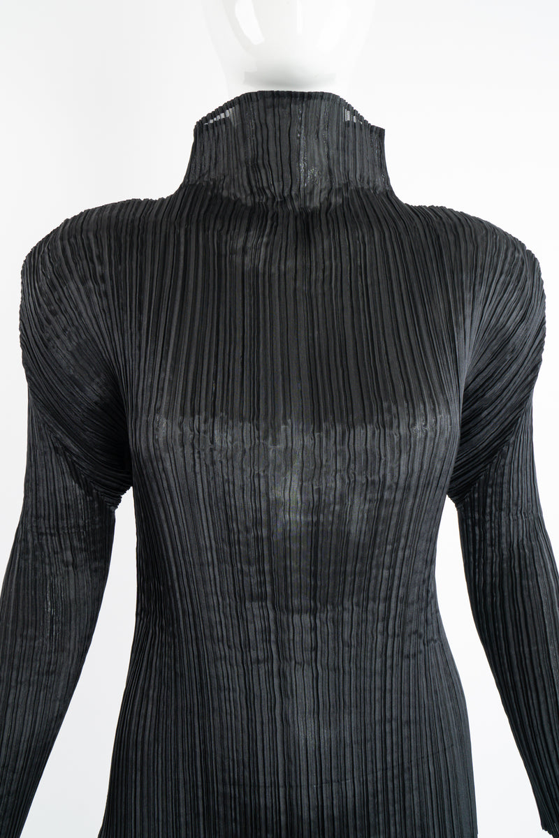 Vintage Issey Miyake Pleats Please Sheer Pleated Mockneck Top on Mannequin frt crop at Recess LA