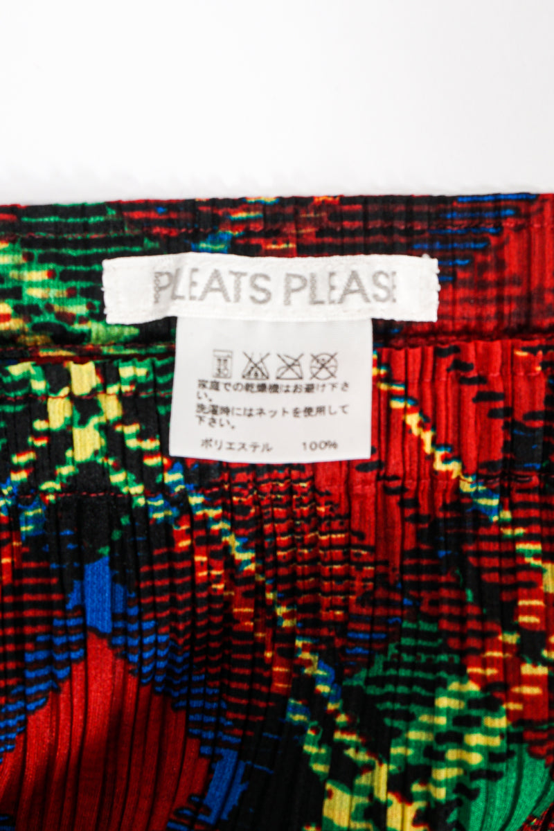 Vintage Issey Miyake Pleats Please Plaid Print Wrap Skirt label at Recess Los Angeles