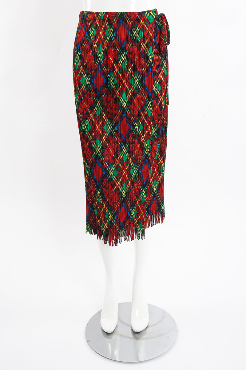 Vintage Issey Miyake Pleats Please Plaid Print Wrap Skirt on Mannequin front at Recess Los Angeles