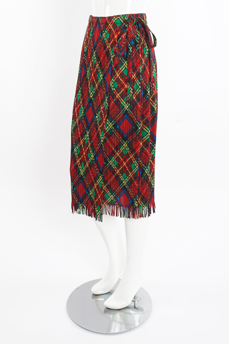 Vintage Issey Miyake Pleats Please Plaid Print Wrap Skirt on Mannequin side at Recess Los Angeles