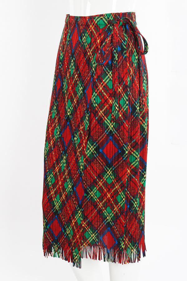 Vintage Issey Miyake Pleats Please Plaid Print Wrap Skirt on Mannequin crop at Recess Los Angeles