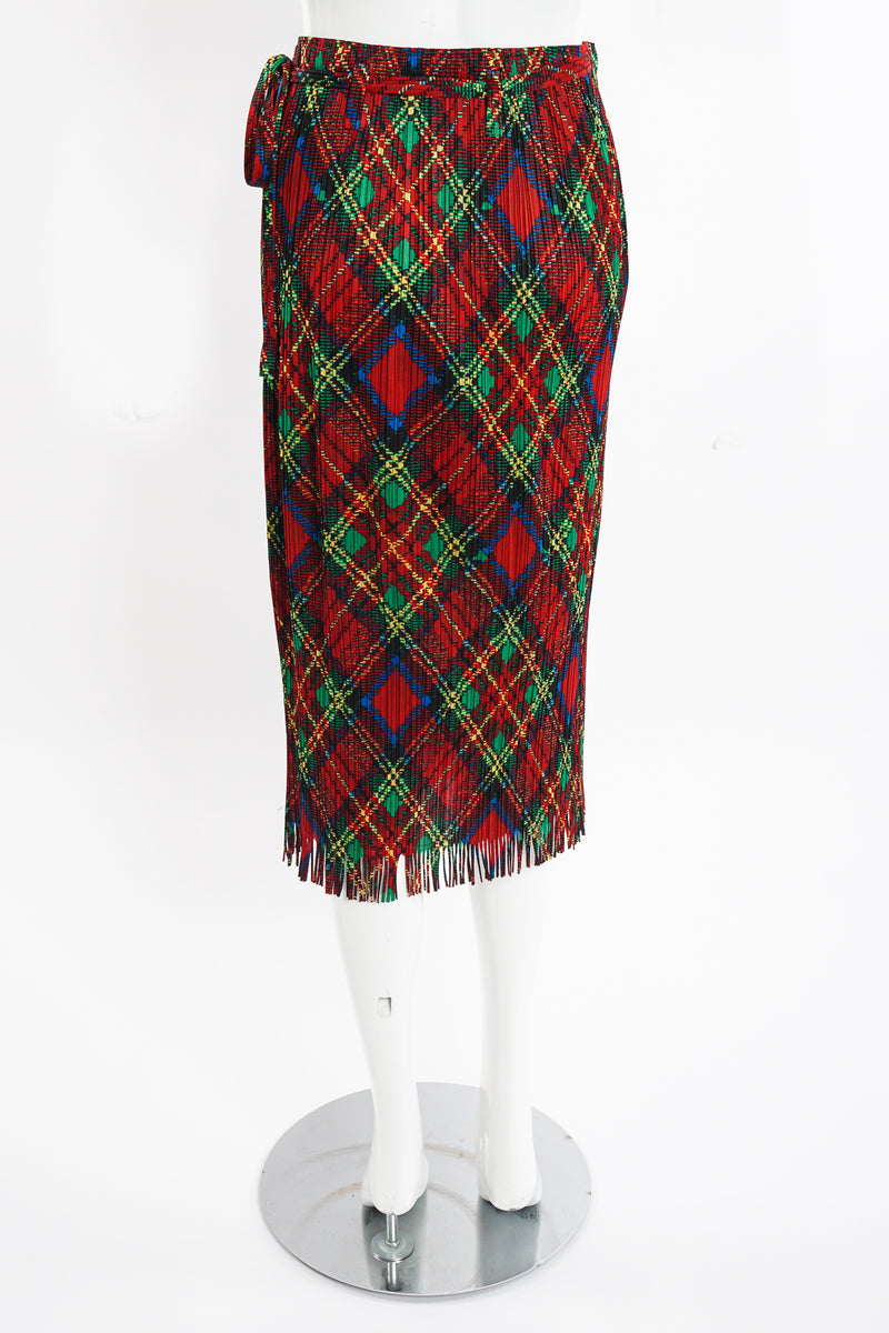 Vintage Issey Miyake Pleats Please Plaid Print Wrap Skirt on Mannequin back at Recess Los Angeles