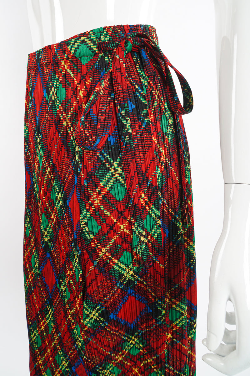 Vintage Issey Miyake Pleats Please Plaid Print Wrap Skirt on Mannequin waist at Recess Los Angeles