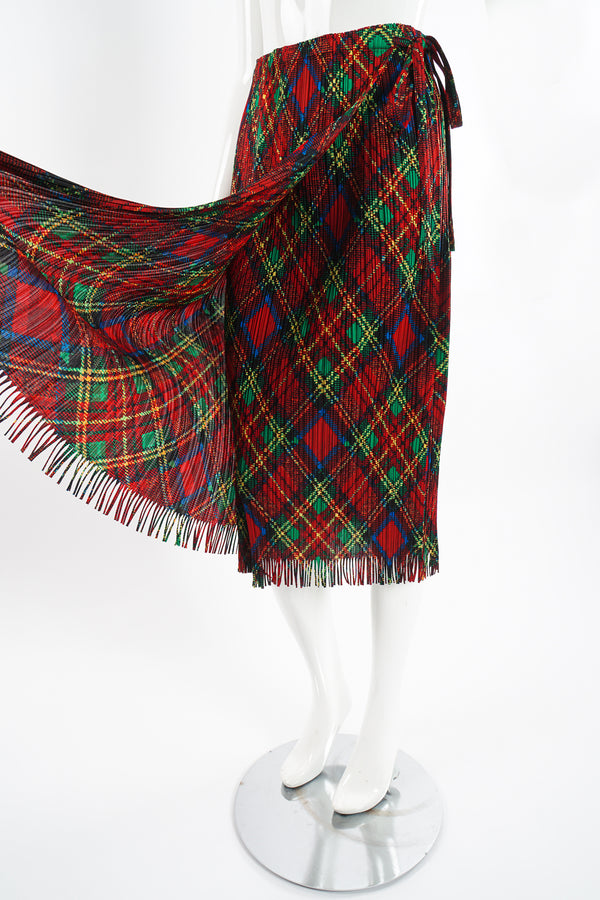 Vintage Issey Miyake Pleats Please Plaid Print Wrap Skirt on Mannequin angle at Recess Los Angeles