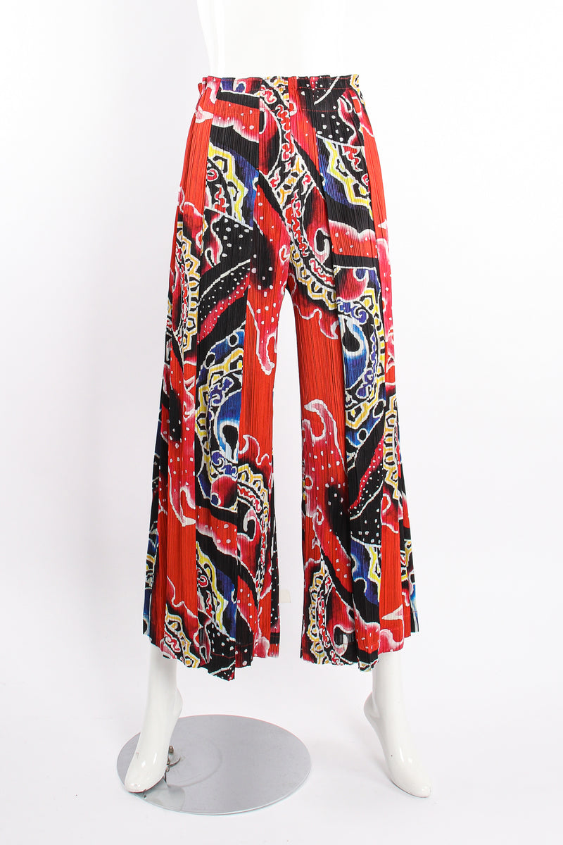 VIntage Pleats Please Issey Miyake Wide Leg Fire Print Palazzo Pant on Mannequin front @ Recess LA