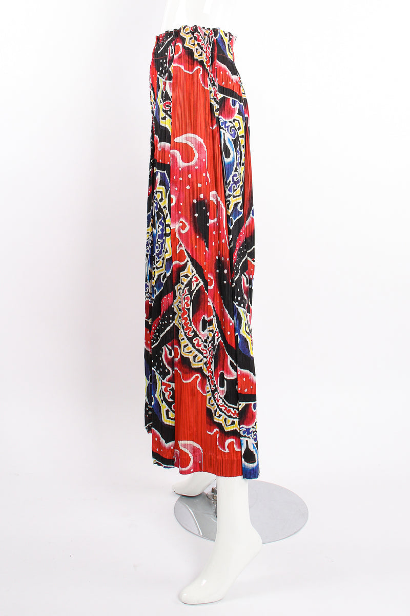 VIntage Pleats Please Issey Miyake Wide Leg Fire Print Palazzo Pant on Mannequin side @ Recess LA
