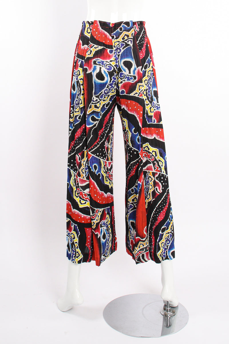 VIntage Pleats Please Issey Miyake Wide Leg Fire Print Palazzo Pant on Mannequin back @ Recess LA