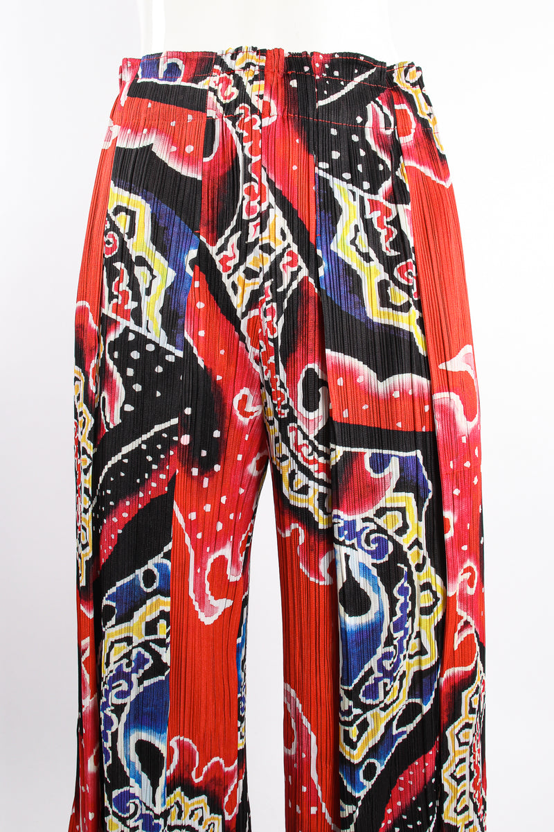 VIntage Pleats Please Issey Miyake Wide Leg Fire Print Palazzo Pant on Mannequin waist @ Recess LA