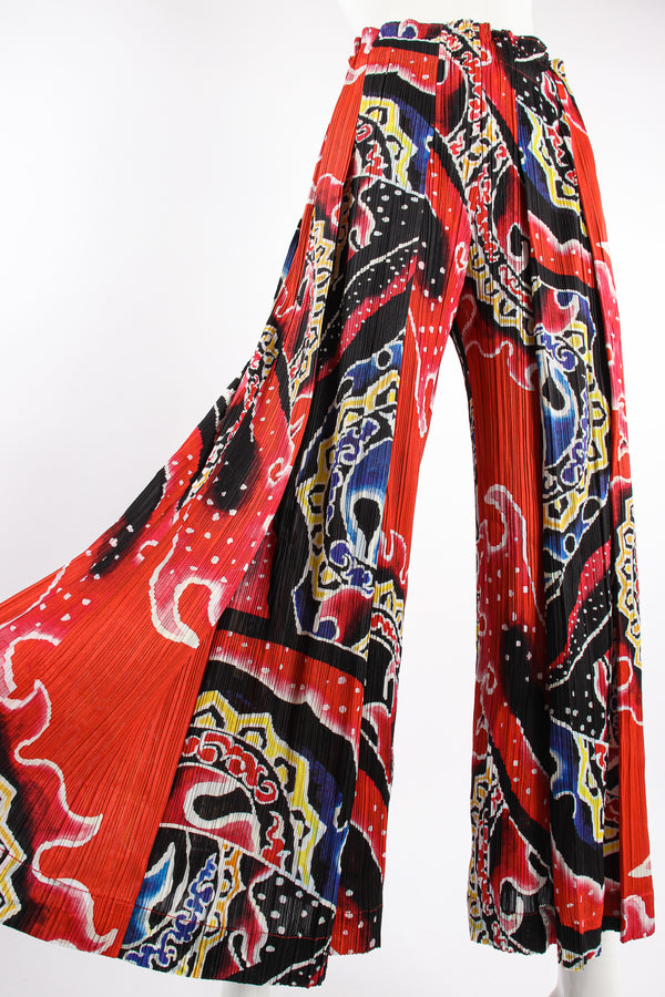 VIntage Pleats Please Issey Miyake Wide Leg Fire Print Palazzo Pant on Mannequin angle @ Recess LA
