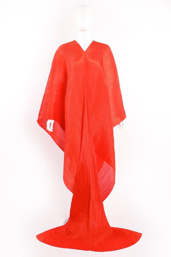 Vintage Pleats Please Issey Miyake Multi-Wrap Cape Poncho Caftan on Mannequin front at Recess LA
