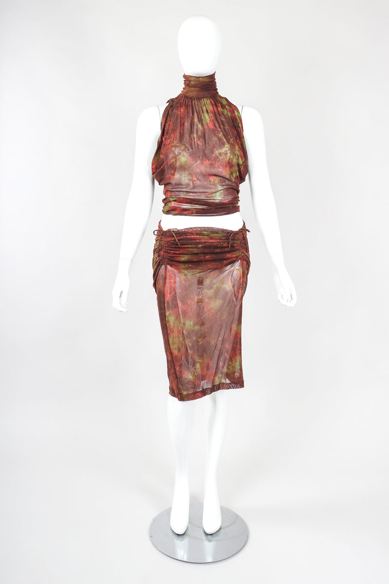 Recess Designer Consignment Vintage Plein Sud Sheer Mesh Sleeveless Turtleneck & Skirt Set Outfit Ensemble Los Angeles Resale