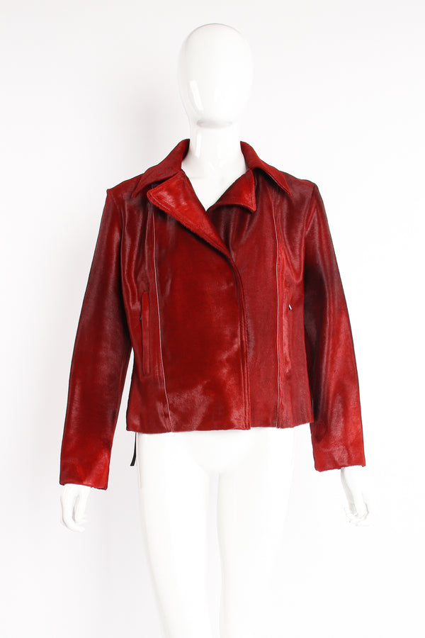 Vintage Plein Sud Blood red Pony Hair Moto Jacket on Mannequin front at Recess Los Angeles