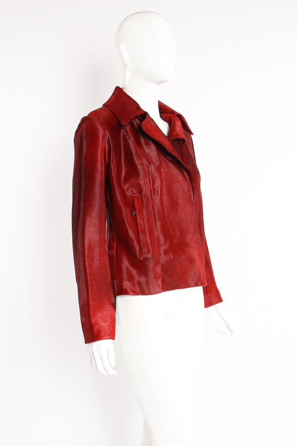 Vintage Plein Sud Blood red Pony Hair Moto Jacket on Mannequin side at Recess Los Angeles