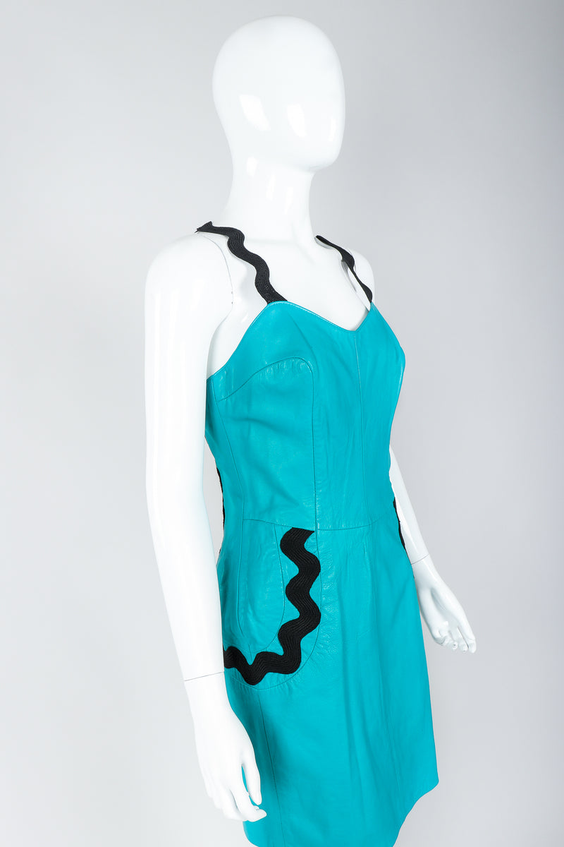 Vintage Positano Teal Leather Cocktail Sheath on Mannequin, cropped, at Recess Los Angeles