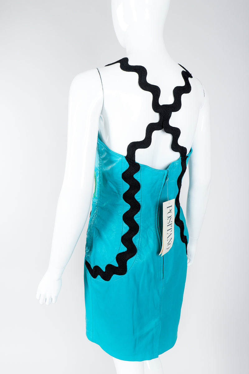 Vintage Positano Teal Leather Cocktail Sheath on Mannequin, back view, at Recess Los Angeles