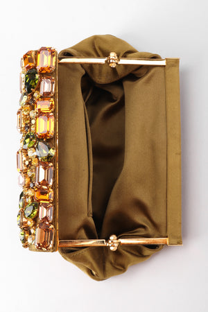 Recess Los Angeles Vintage Prada Jeweled Satin Frame Evening Clutch