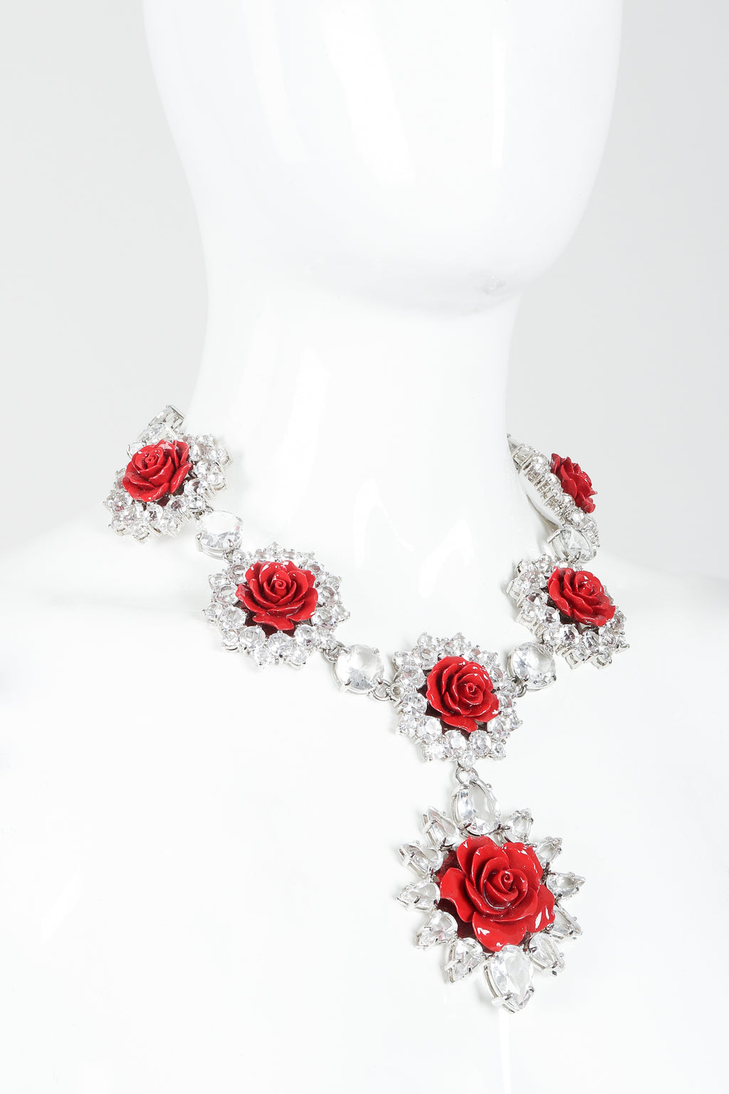 Vintage Prada Crystal Resin Rose Bib Necklace SS 2012 on mannequin at Recess