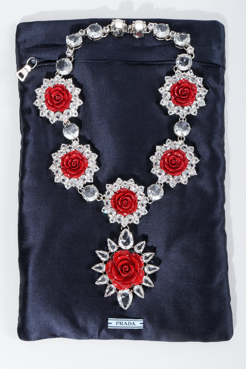 Vintage Prada Crystal Resin Rose Bib Necklace SS 2012 with dustbag at Recess