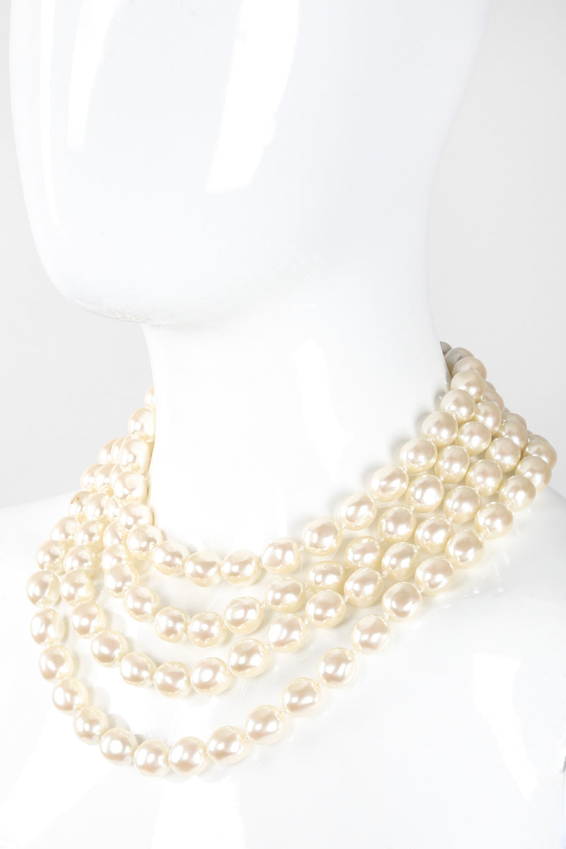 Recess Los Angeles Vintage Prince Kamy Yar Multi-Strand Tiered Pearl Collar Necklace