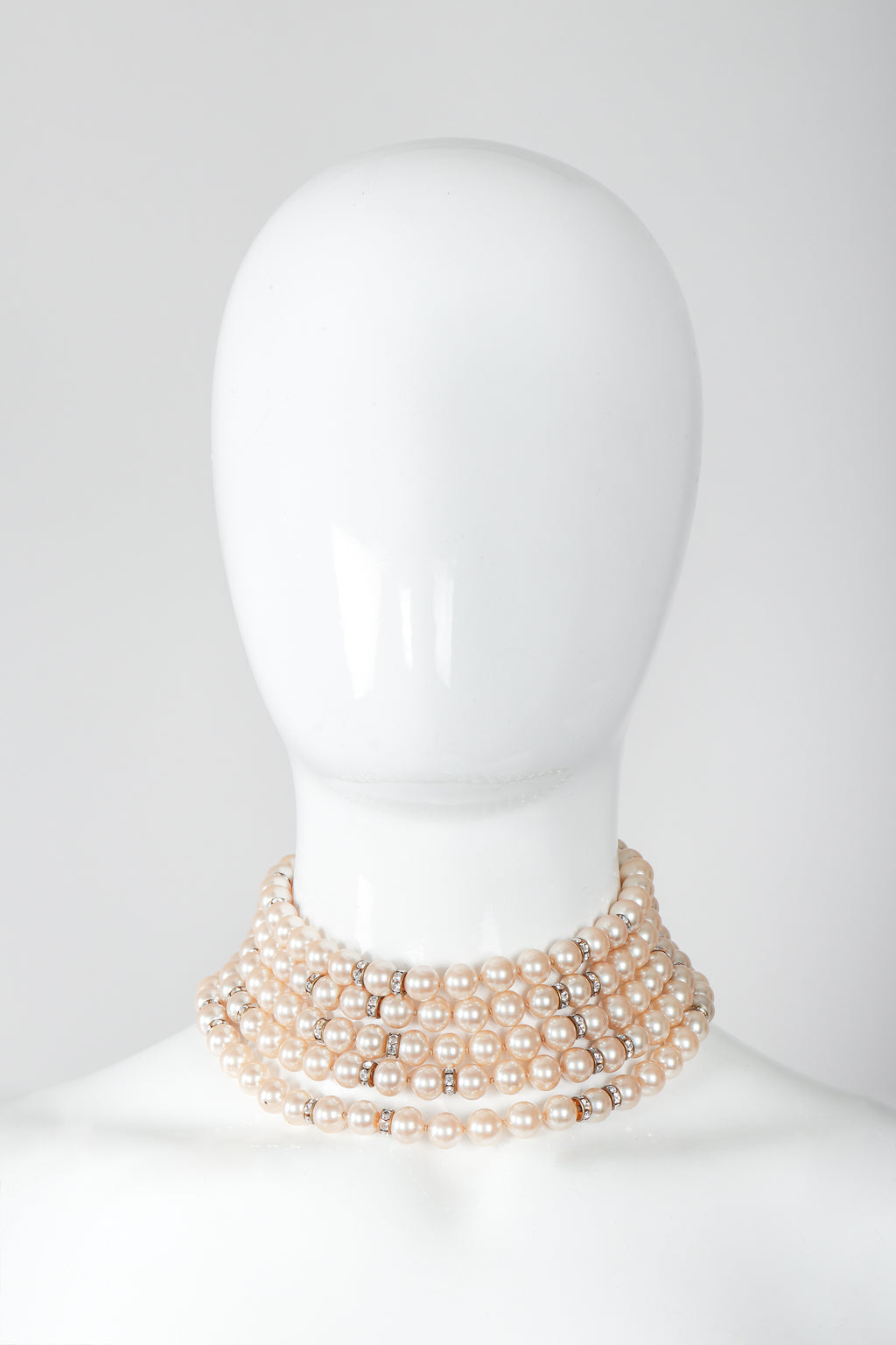 Recess Vintage Prince Kamy Yar 5-Strand Faux Pearl Necklace on Mannequin