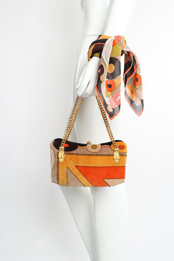 Vintage Pucci Mini Velvet Bag & Scarf Set styled on Mannequin At Recess Los Angeles