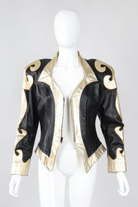 Recess Los Angeles Vintage Rafaell Metallic Flourish Gold Lamé Leather Jacket 90s