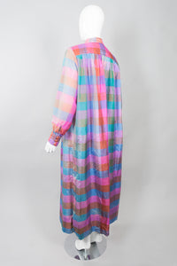 Raksha of Hindimp London for Neiman Marcus Pastel Plaid Check Vintage Silk Kaftan