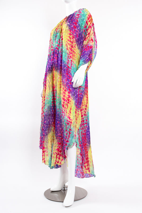 Vintage Raksha Rainbow Silk Bandhani Tie Dye Caftan on Mannequin angle at Recess Los Angeles