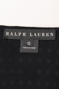 Recess Los Angeles Vintage Ralph Lauren Silk Chiffon Polka Dot Feather Tie Top