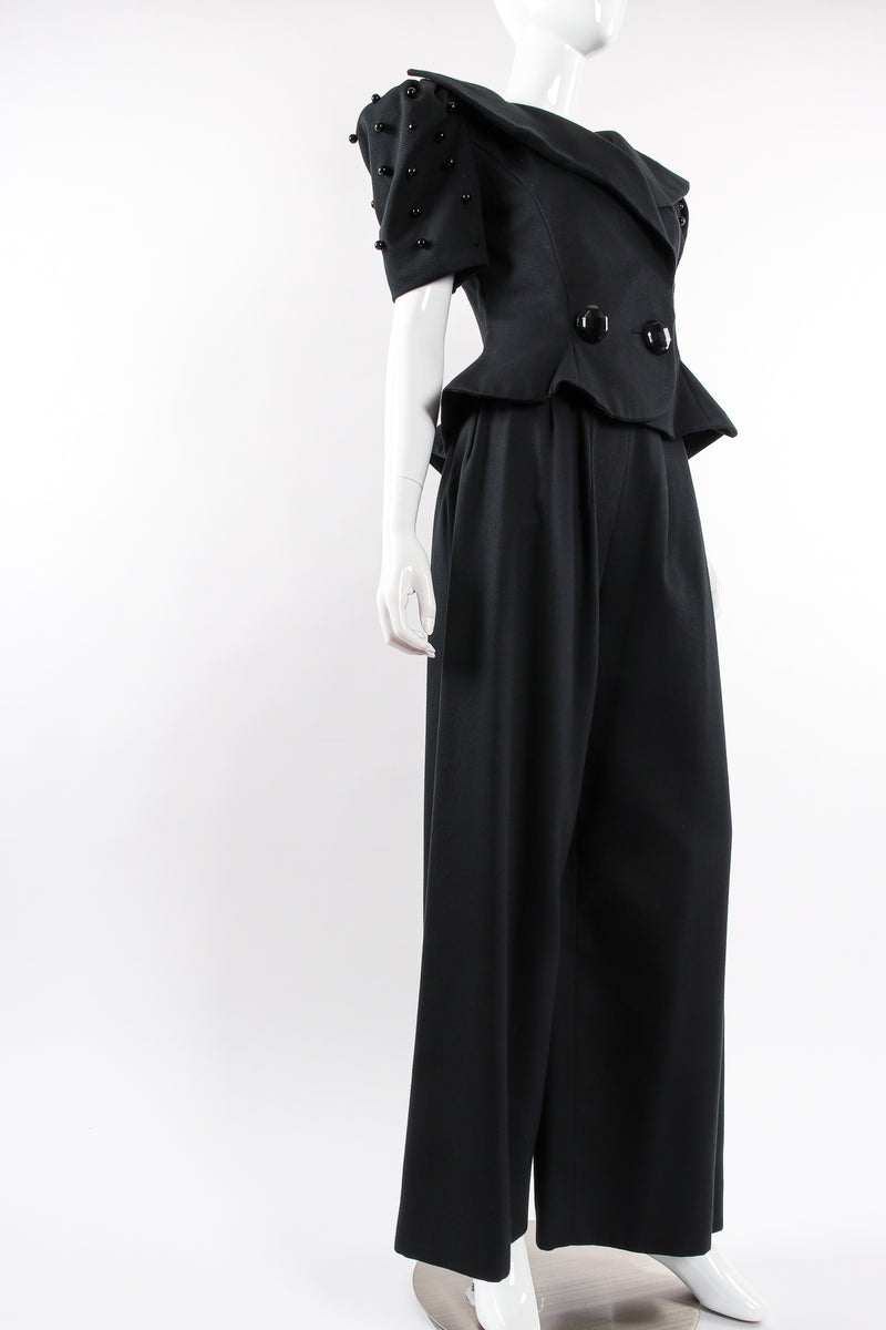 Vintage Raul Blanco Evenings Puff Sleeve Jacket & Pant Set on Mannequin angle @ Recess LA