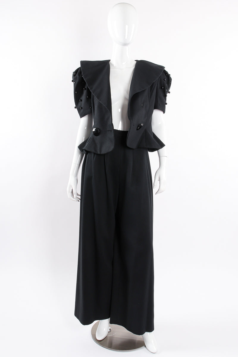 Vintage Raul Blanco Evenings Puff Sleeve Jacket & Pant Set on Mannequin open @ Recess LA