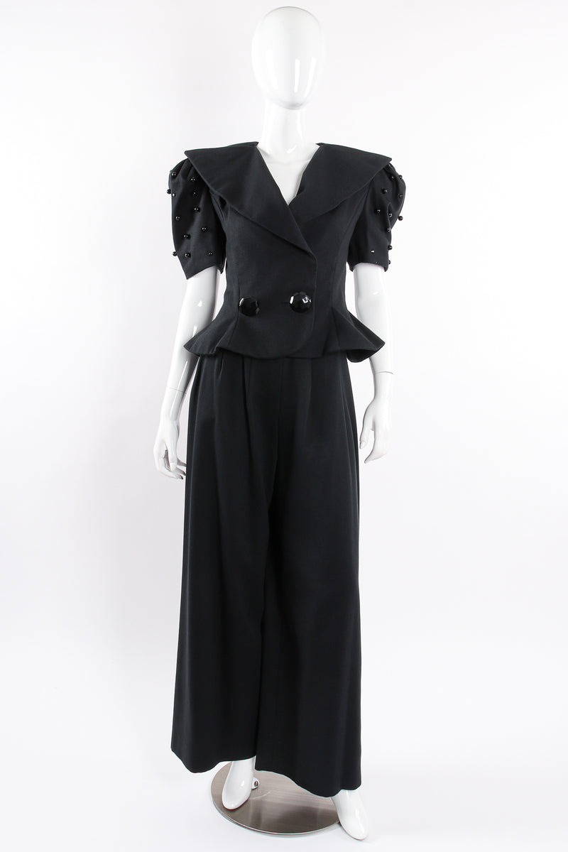 Vintage Raul Blanco Evenings Puff Sleeve Jacket & Pant Set on Mannequin front @ Recess LA