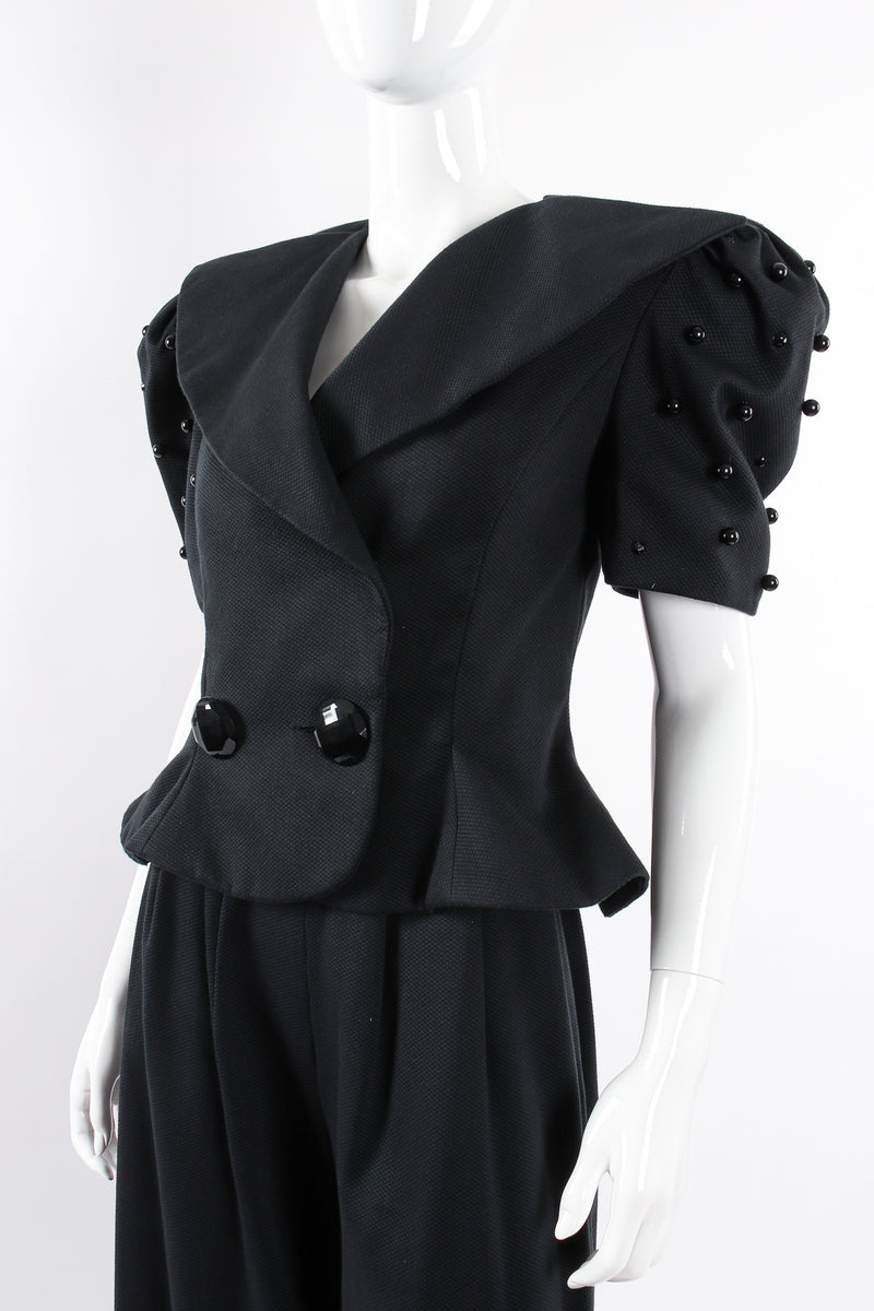 Vintage Raul Blanco Evenings Puff Sleeve Jacket & Pant Set on Mannequin angle crop @ Recess LA