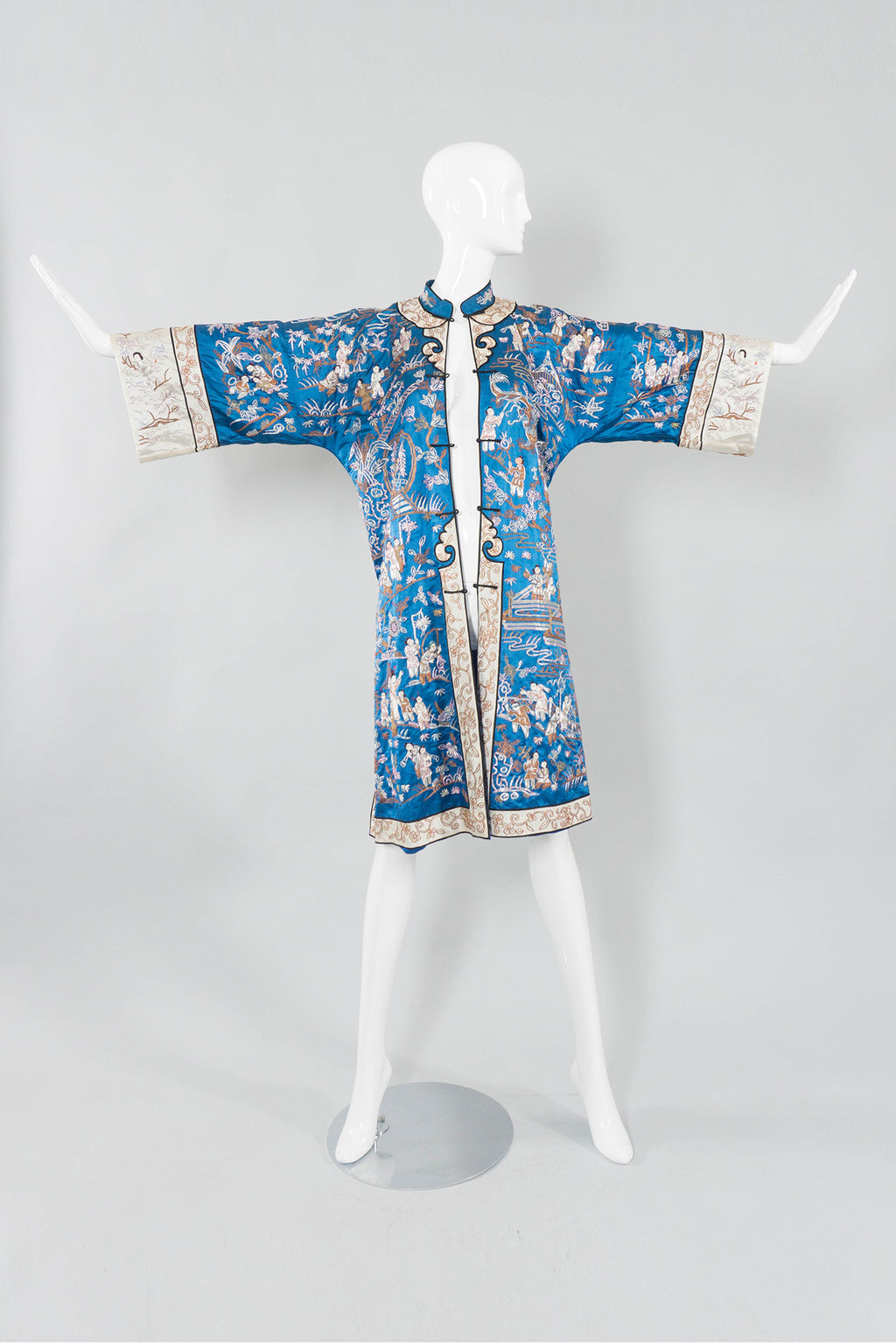 Chinese Metal Embroidered Village Robe Open Front