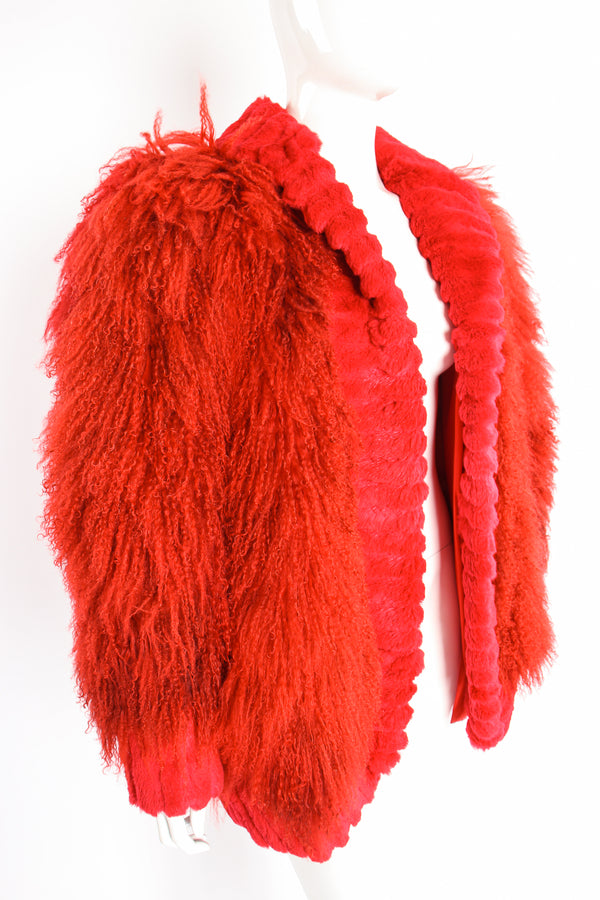 Vintage Evans Red Mongolian Fur Shawl Collar Coat on Mannequin crop at Recess Los Angeles