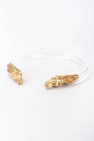 Recess Los Angeles Vintage Remy Lucite Clear Choker Brass Horse Heads
