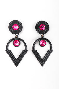 Recess Los Angeles Vintage Remy Dis Fuchsia Crystal Circle Point Drop Earrings