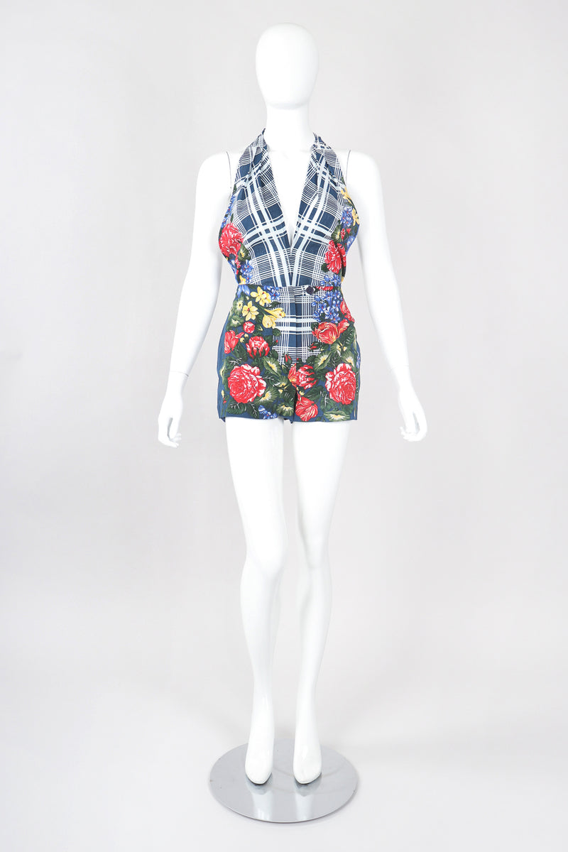 Recess Los Angeles Designer Consignment Vintage Rena Lange Four-Piece Floral Plaid Phumzile Mlambo-Ngcuka Portrait Ensemble