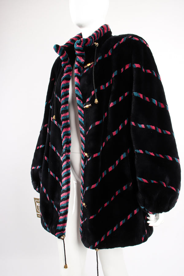 Vintage Revillon Chevron Stripe Toggle Fur Coat on Mannequin angle at Recess Los Angeles
