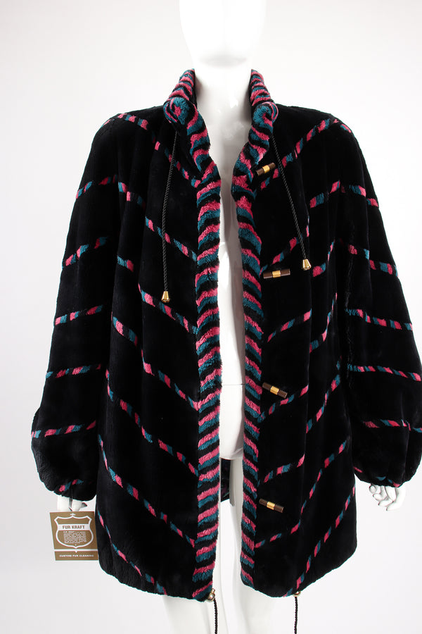 Vintage Revillon Chevron Stripe Toggle Fur Coat on Mannequin front open at Recess Los Angeles