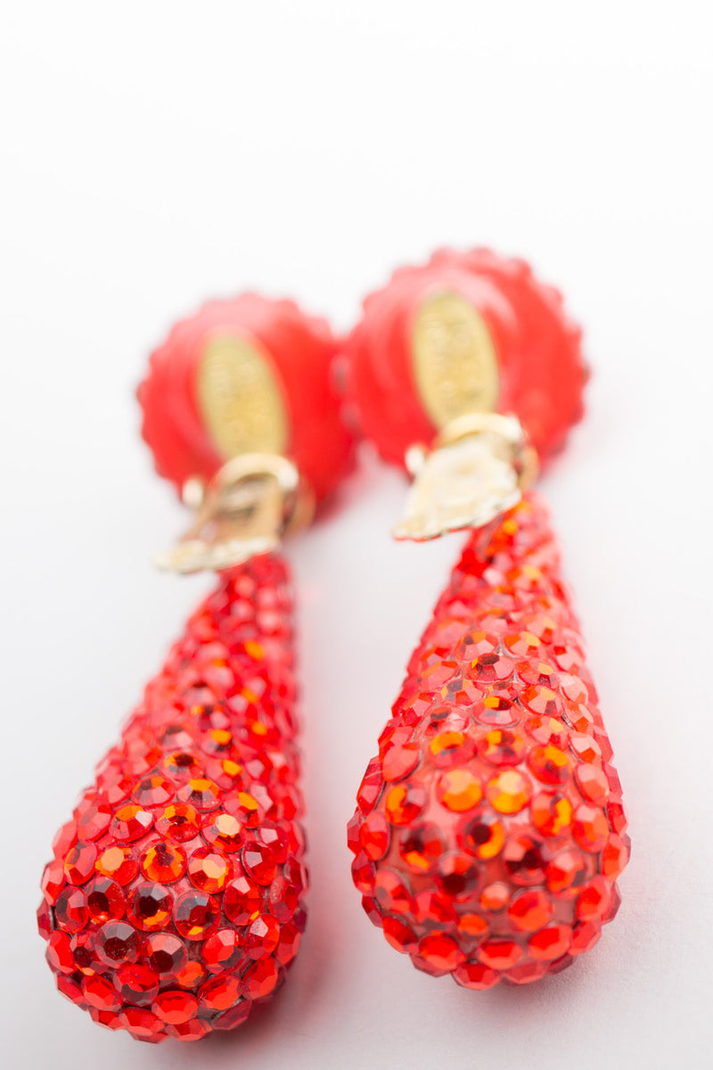 Richard Kerr Hot Cheeto Fire Crystal Rhinestone Drop Earrings