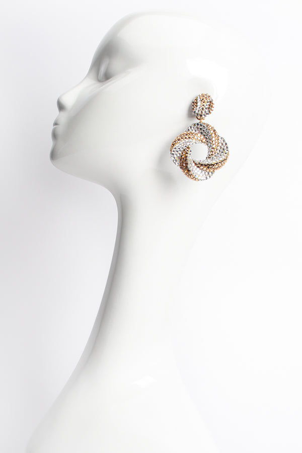 Vintage Richard Kerr Champagne Crystal Swirl Hoop Earrings on mannequin at Recess Los Angeles