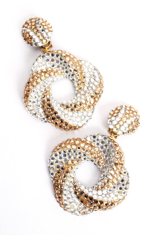 Vintage Richard Kerr Champagne Crystal Swirl Hoop Earrings at Recess Los Angeles